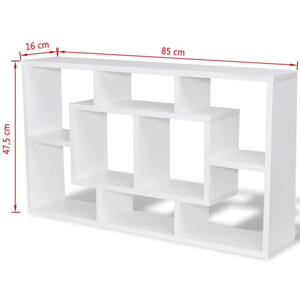 Floating Wall Display Shelf 8 Compartments White 6