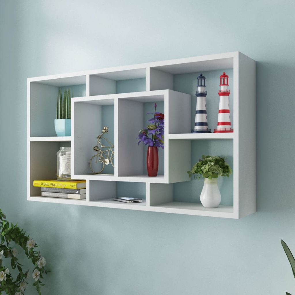 Floating Wall Display Shelf 8 Compartments White 1