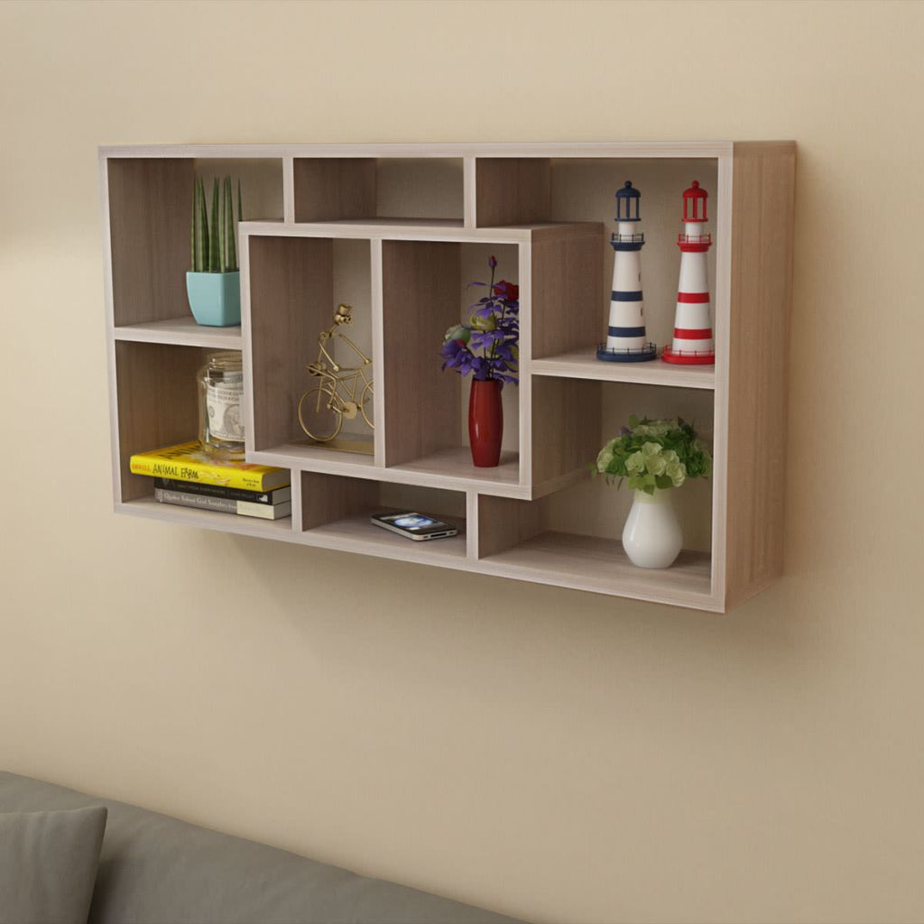 Floating Wall Display Shelf 8 Compartments Oak Colour 1
