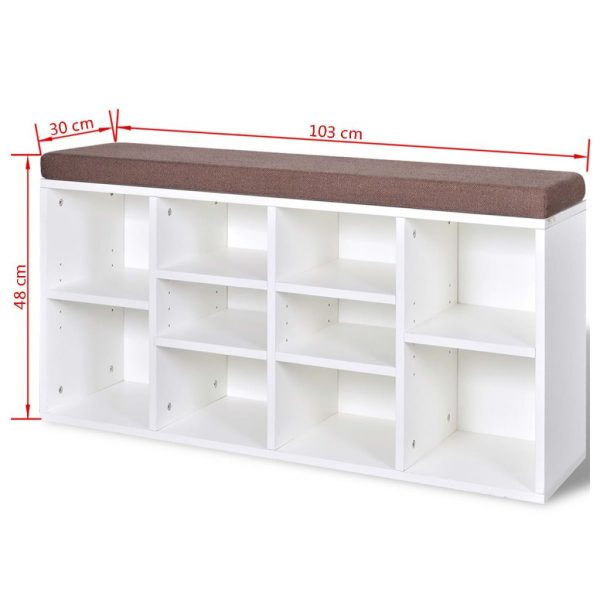 Shoe Storage Bench 10 Compartments White 5