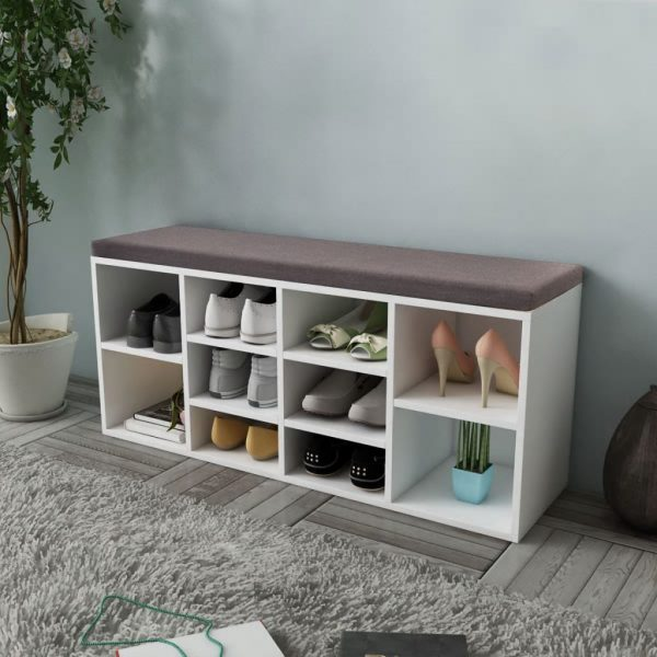 Shoe Storage Bench 10 Compartments White 1