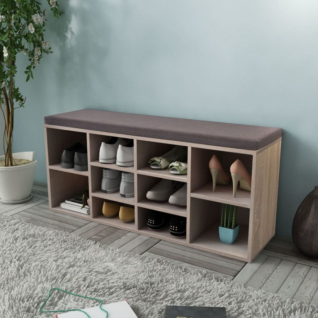 Shoe Storage Bench 10 Compartments Oak Colour