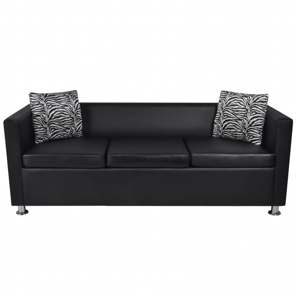 Sofa Set Artificial Leather 3-Seater 2-Seater Armchair Black 5