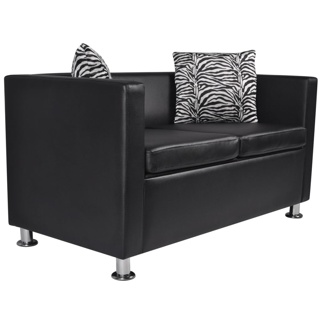 Sofa Set Artificial Leather 3-Seater 2-Seater Armchair Black 9