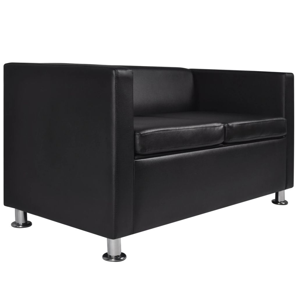 Sofa Set Artificial Leather 3-Seater 2-Seater Armchair Black 10