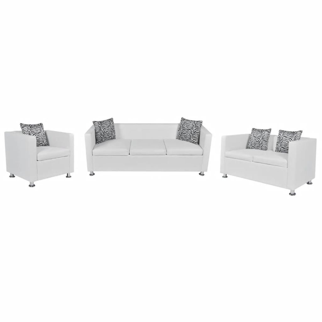 Sofa Set Artificial Leather 3-Seater 2-Seater Armchair White 1