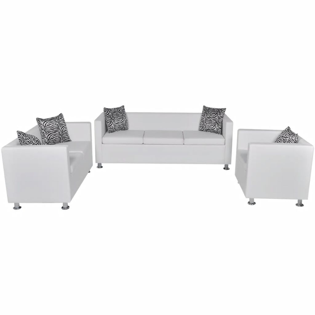 Sofa Set Artificial Leather 3-Seater 2-Seater Armchair White 2