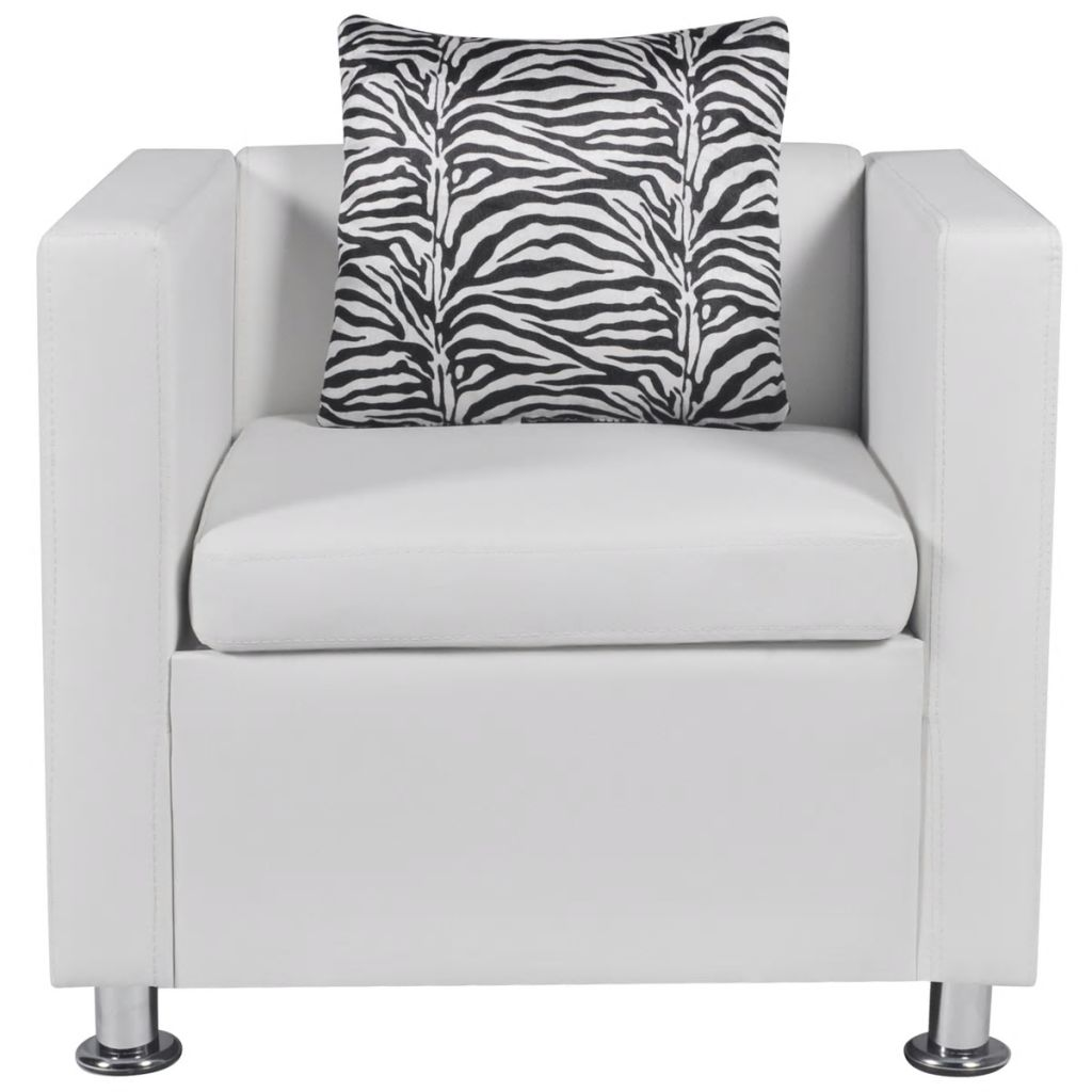 Sofa Set Artificial Leather 3-Seater 2-Seater Armchair White 11