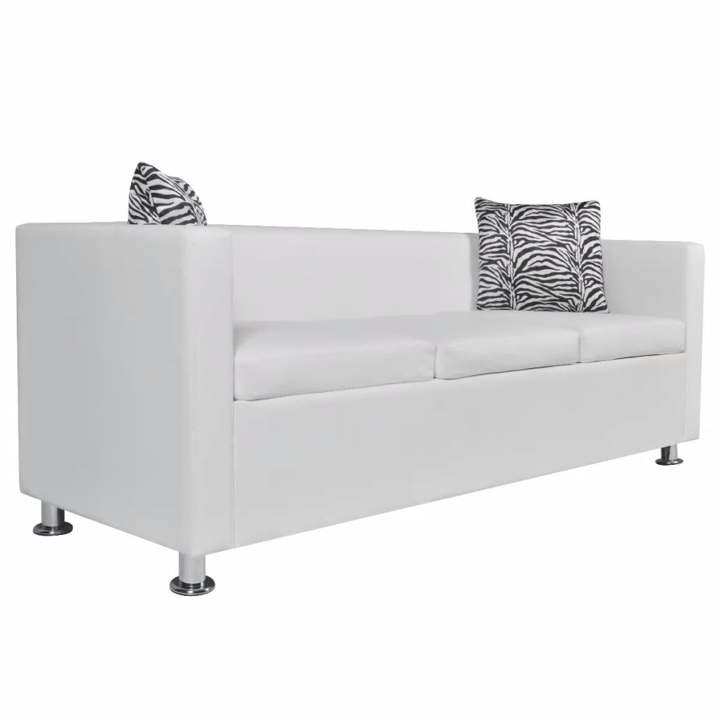 Sofa Set Artificial Leather 3-Seater 2-Seater Armchair White 4