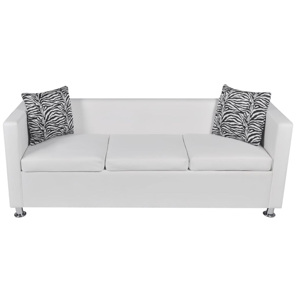 Sofa Set Artificial Leather 3-Seater 2-Seater Armchair White 5