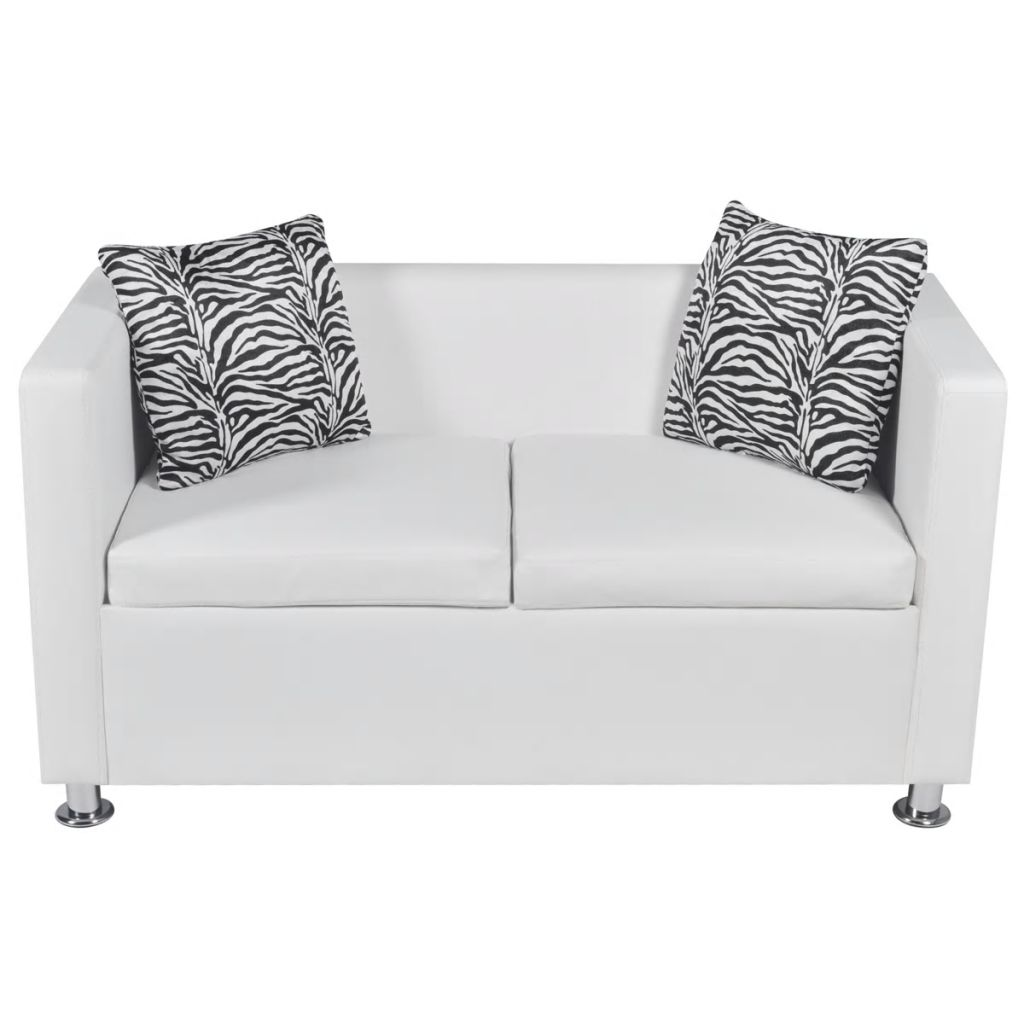 Sofa Set Artificial Leather 3-Seater 2-Seater Armchair White 7