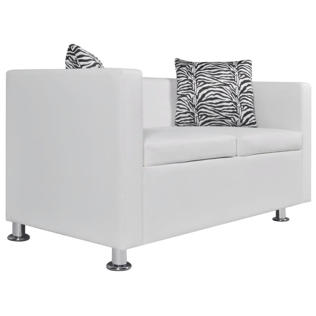 Sofa Set Artificial Leather 3-Seater 2-Seater Armchair White 8