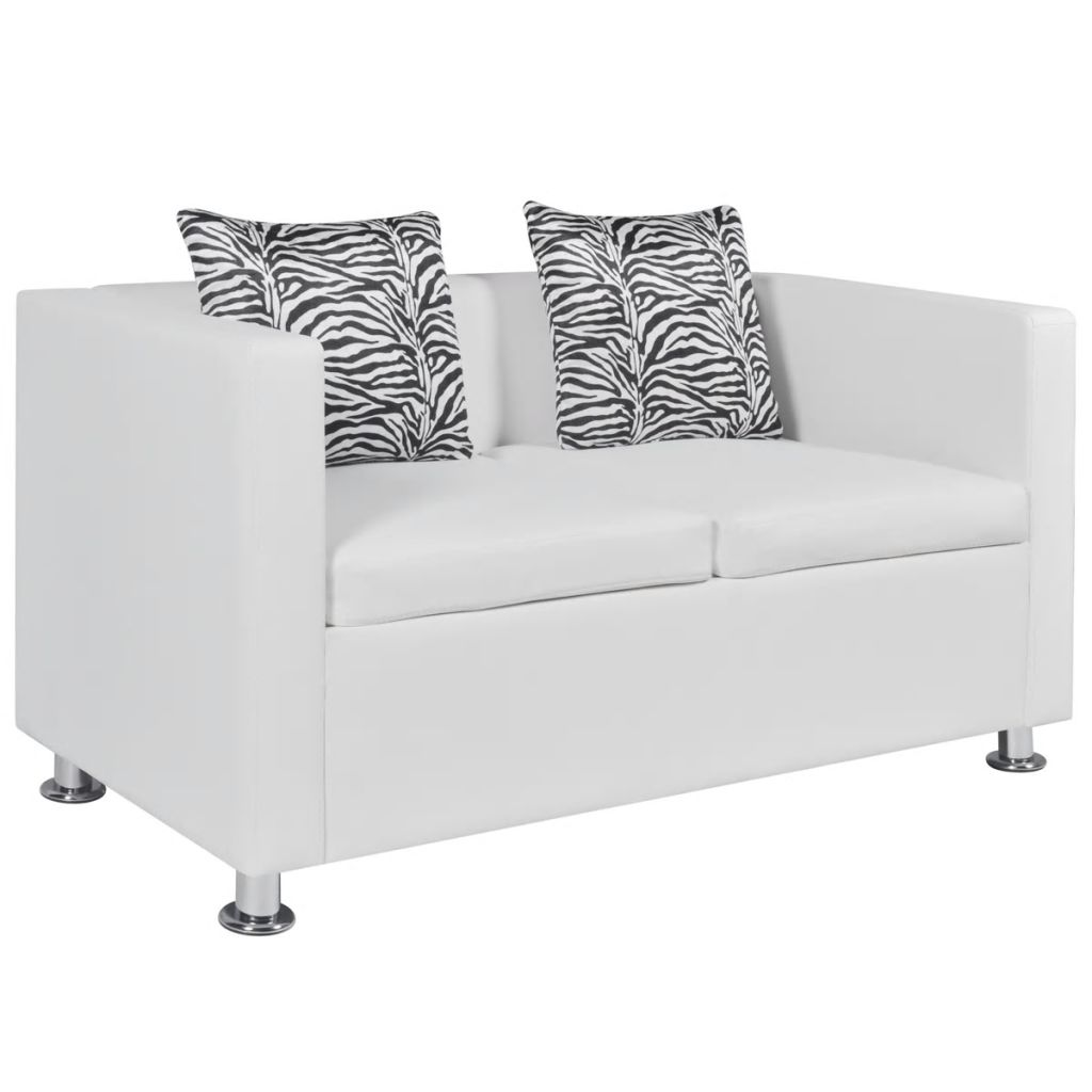 Sofa Set Artificial Leather 3-Seater 2-Seater Armchair White 9