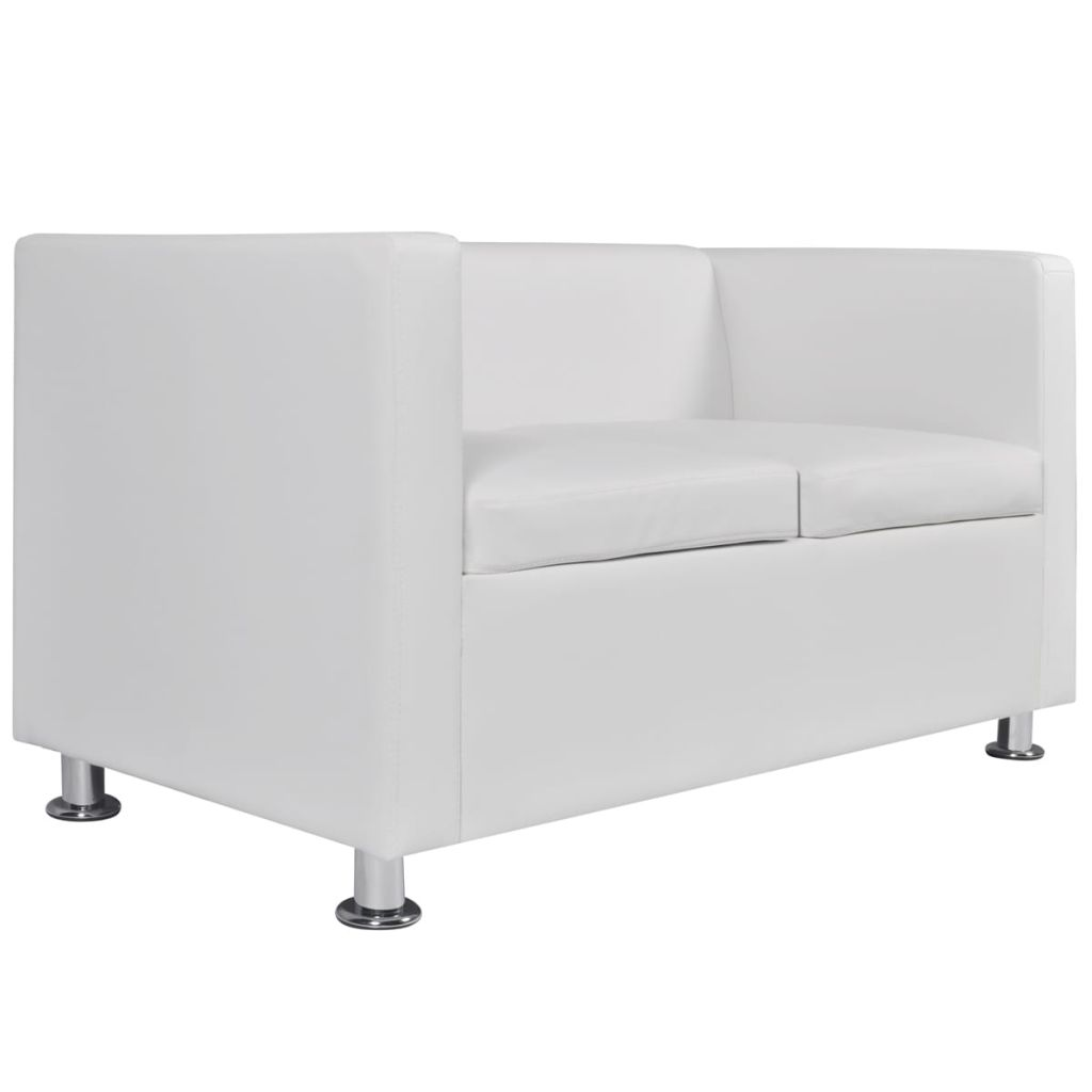 Sofa Set Artificial Leather 3-Seater 2-Seater Armchair White 10