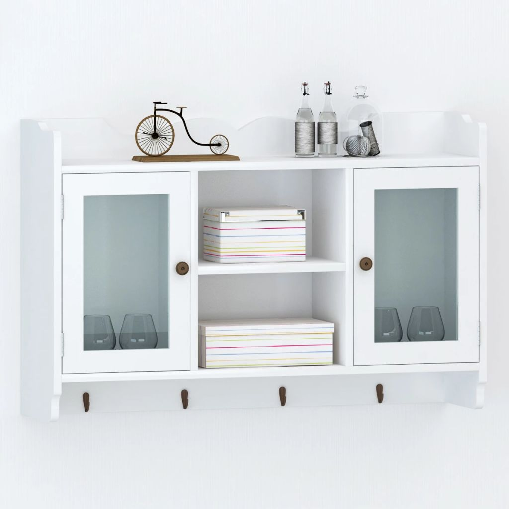 Wall Cabinet Display Shelf Book/DVD/Glass Storage White MDF