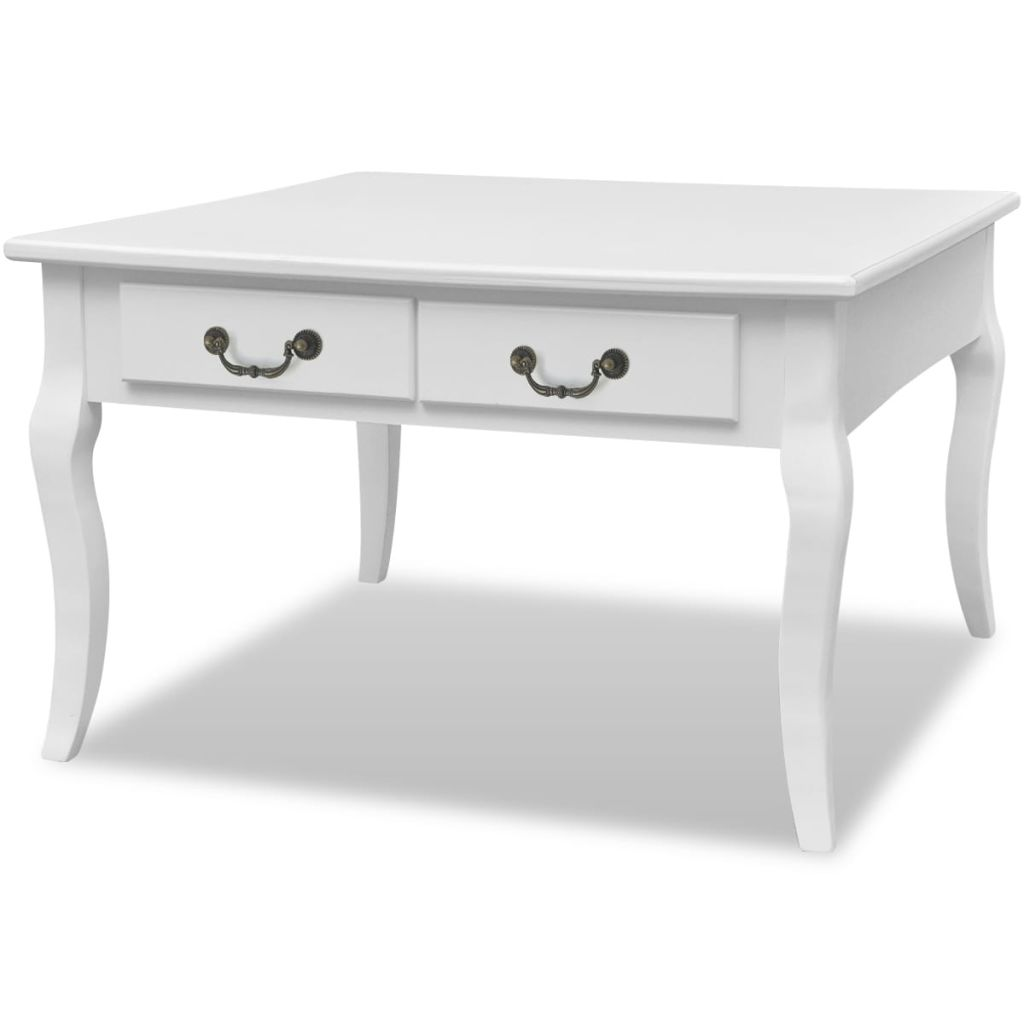 Coffee Table with 4 Drawers White 2