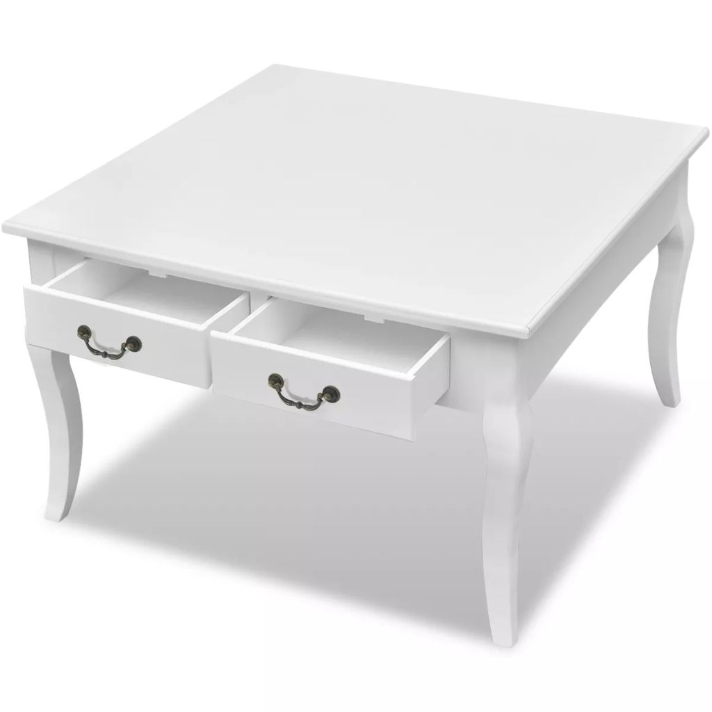 Coffee Table with 4 Drawers White 3