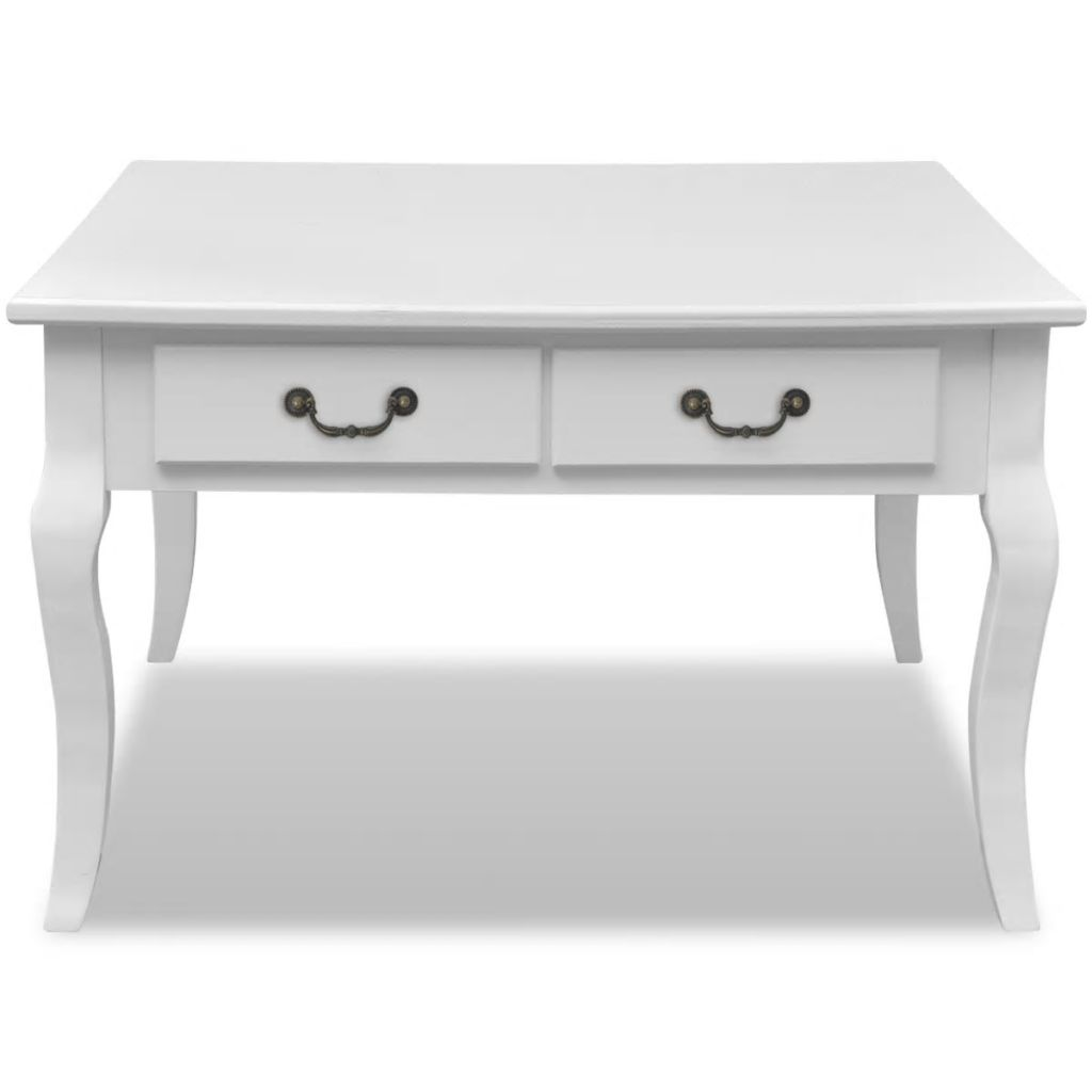 Coffee Table with 4 Drawers White 4