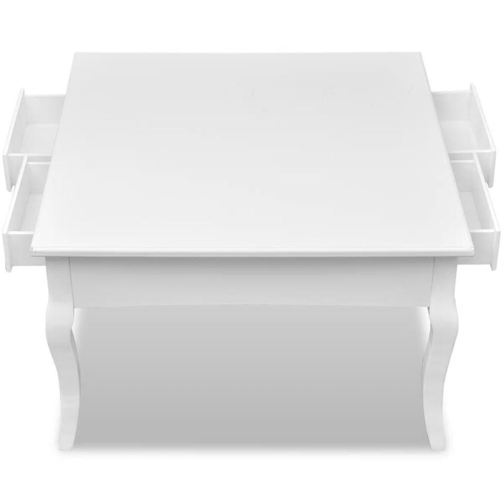Coffee Table with 4 Drawers White 5