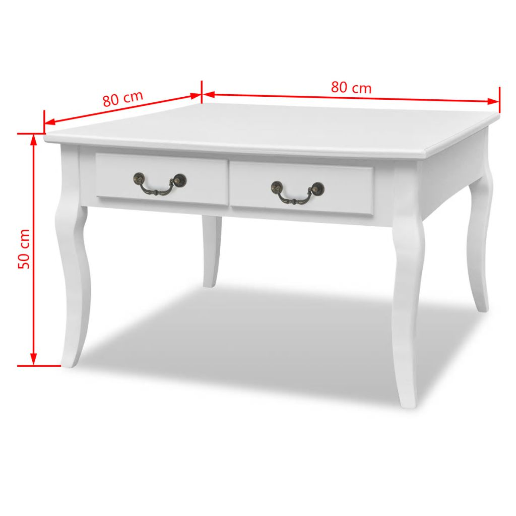 Coffee Table with 4 Drawers White 7