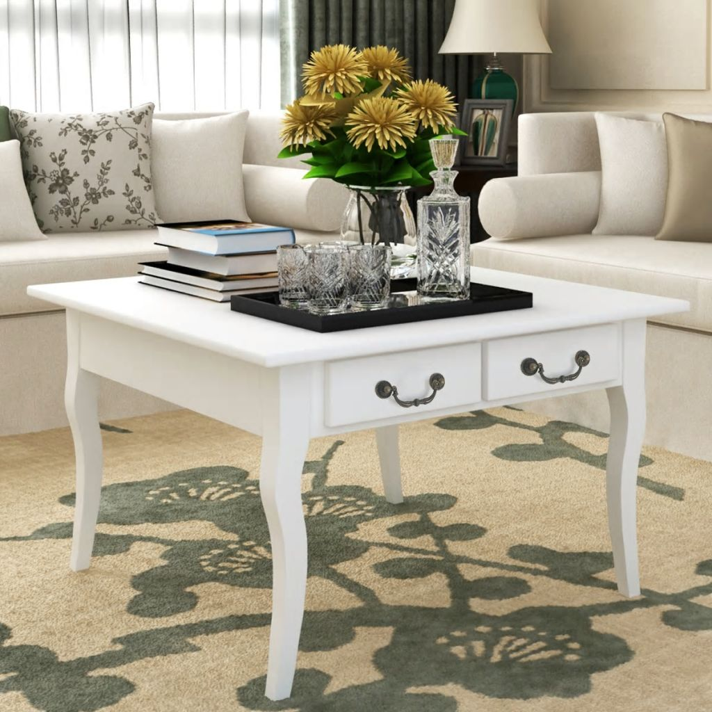 Coffee Table with 4 Drawers White 1