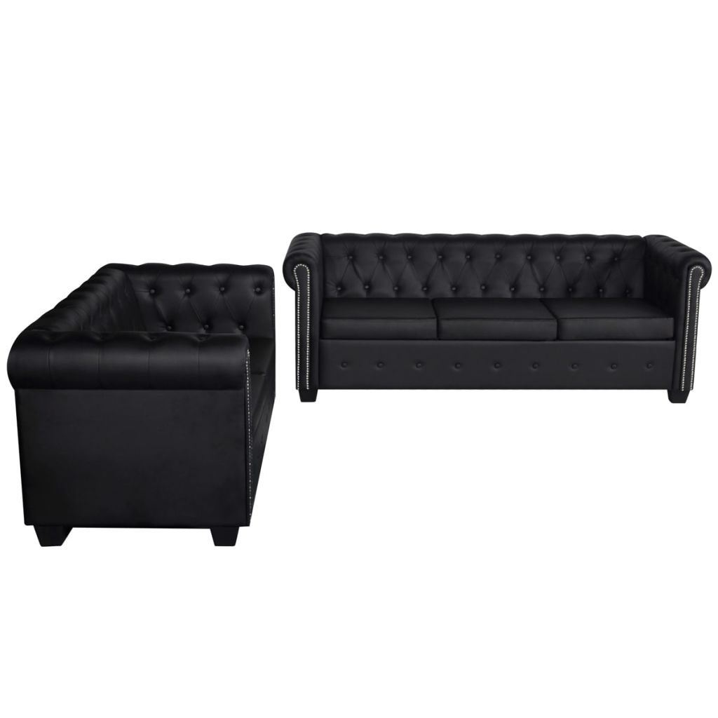 Chesterfield 2-Seater and 3-Seater Artificial Leather Black 4
