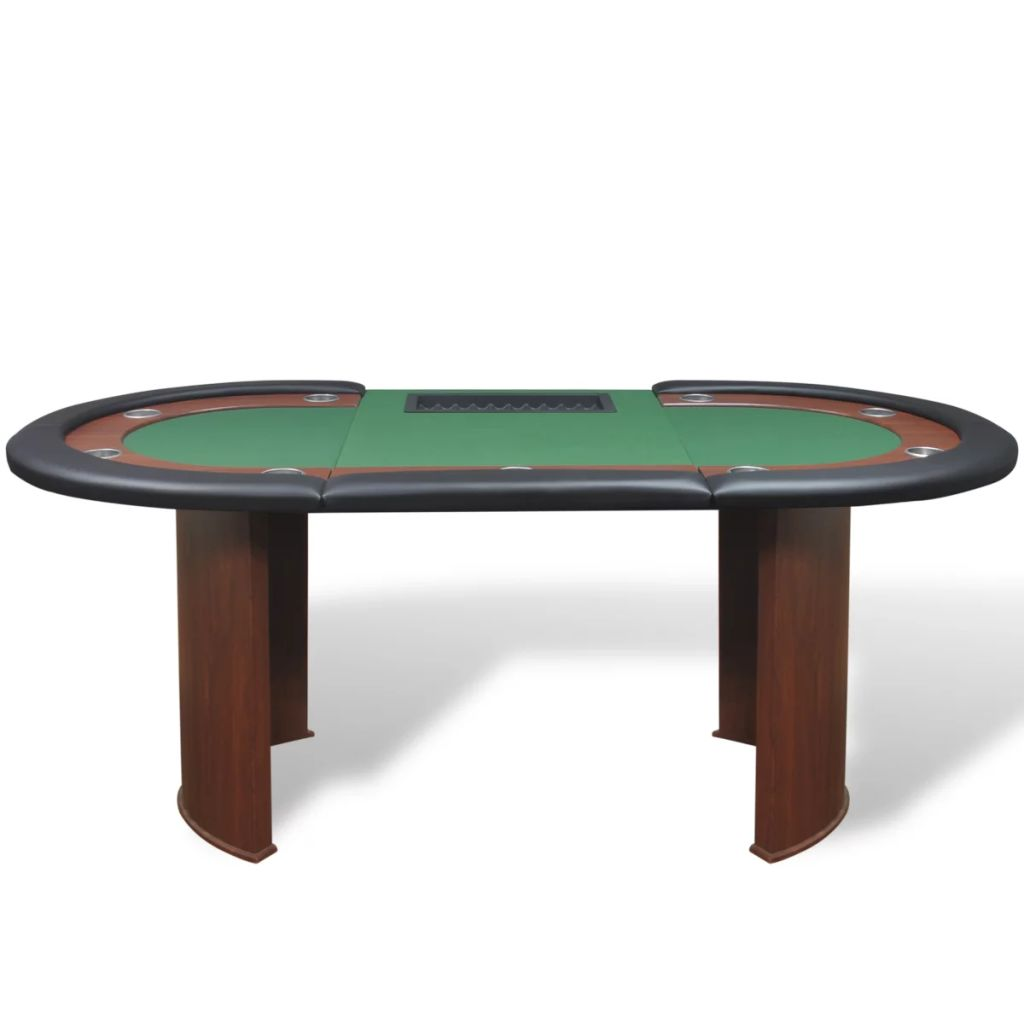 10-Player Poker Table with Dealer Area and Chip Tray Green 3
