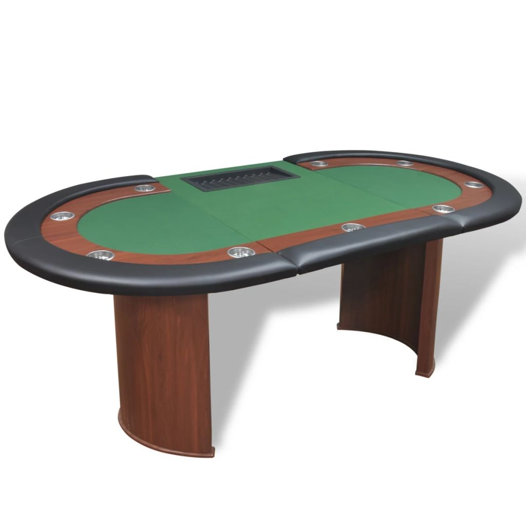 10-Player Poker Table with Dealer Area and Chip Tray Green 4