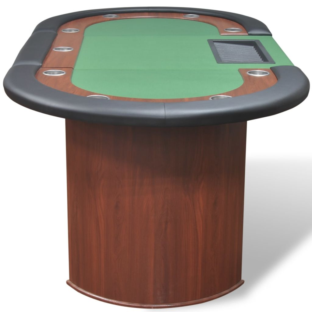 10-Player Poker Table with Dealer Area and Chip Tray Green 5