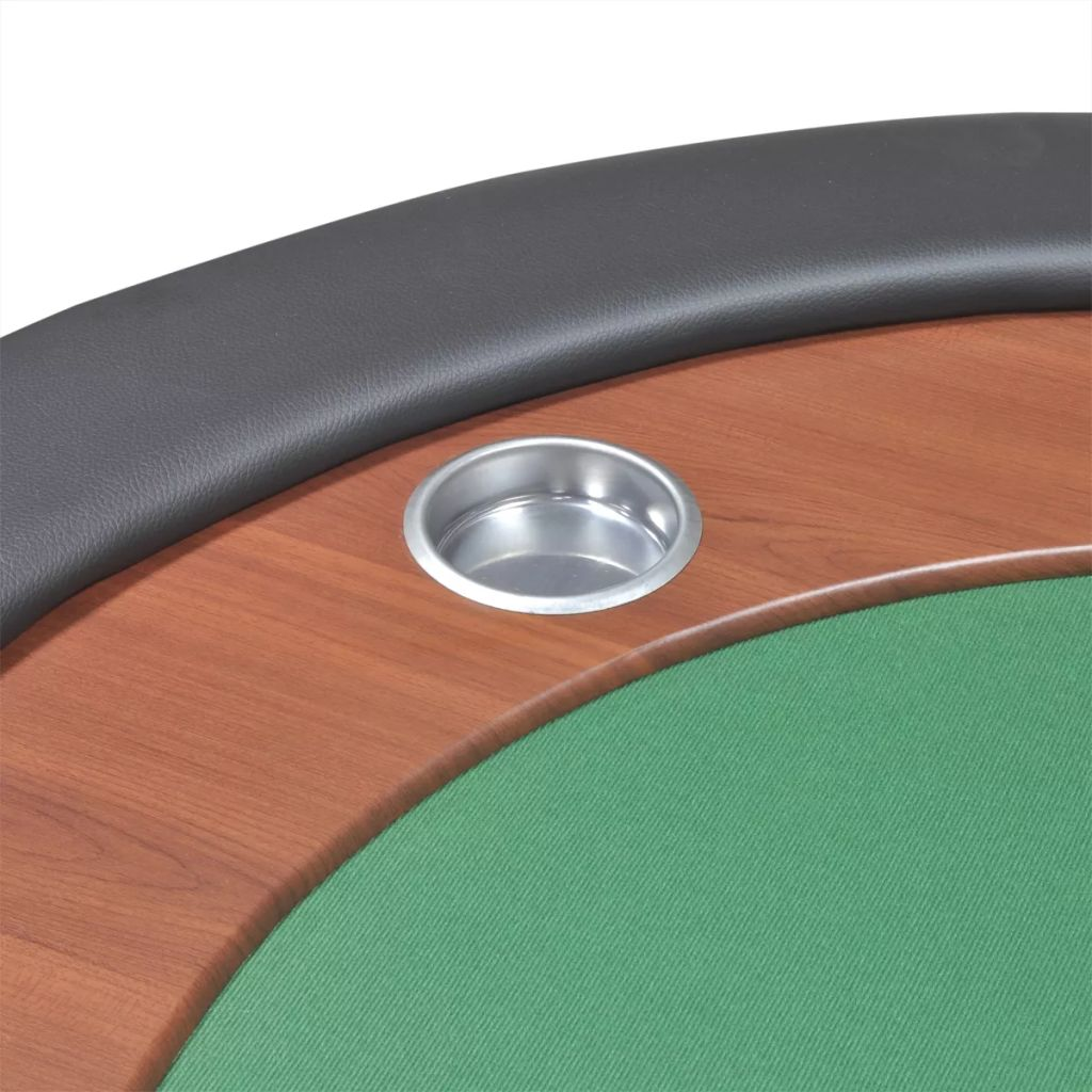 10-Player Poker Table with Dealer Area and Chip Tray Green 8