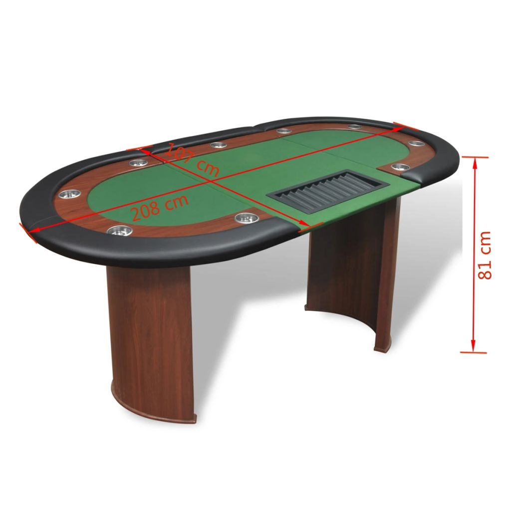 10-Player Poker Table with Dealer Area and Chip Tray Green 9