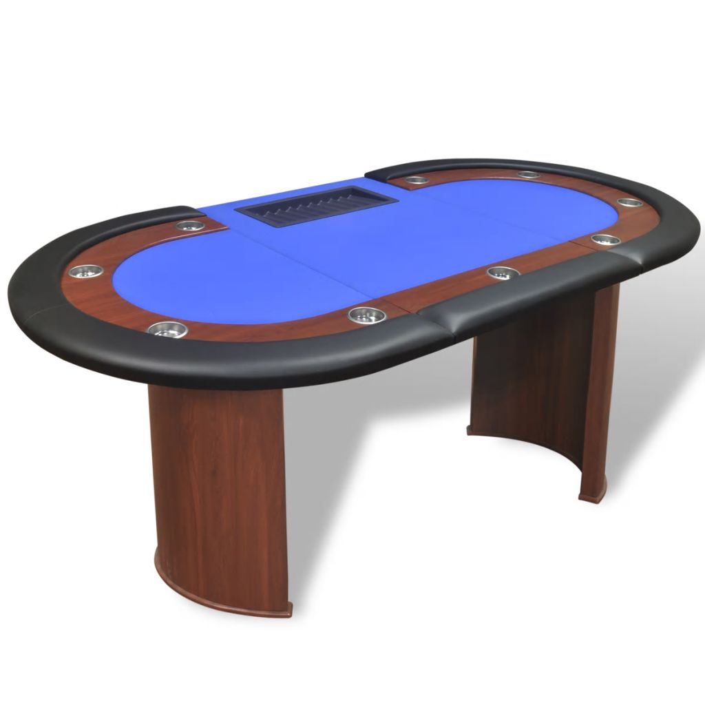 10-Player Poker Table with Dealer Area and Chip Tray Blue 4