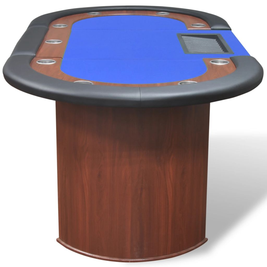 10-Player Poker Table with Dealer Area and Chip Tray Blue 5