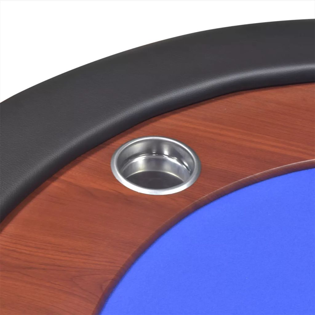 10-Player Poker Table with Dealer Area and Chip Tray Blue 8