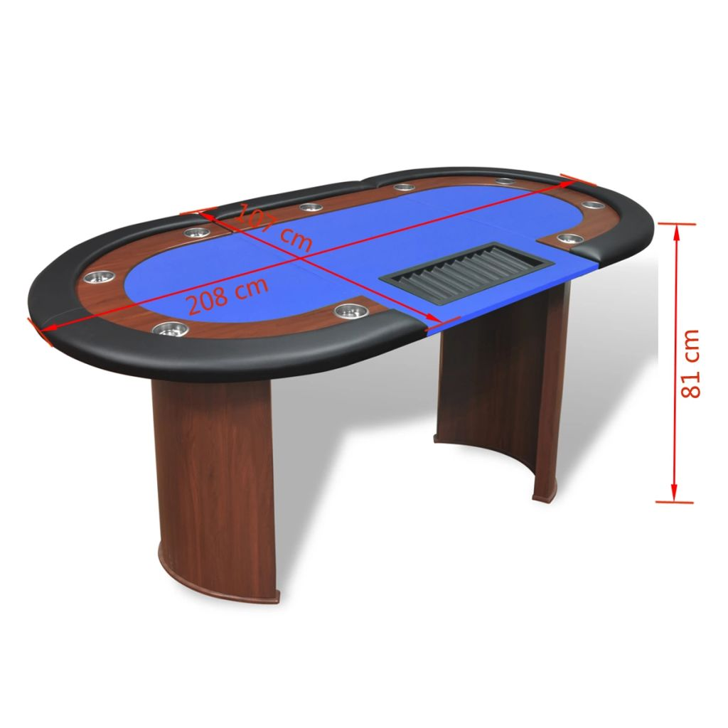 10-Player Poker Table with Dealer Area and Chip Tray Blue 9
