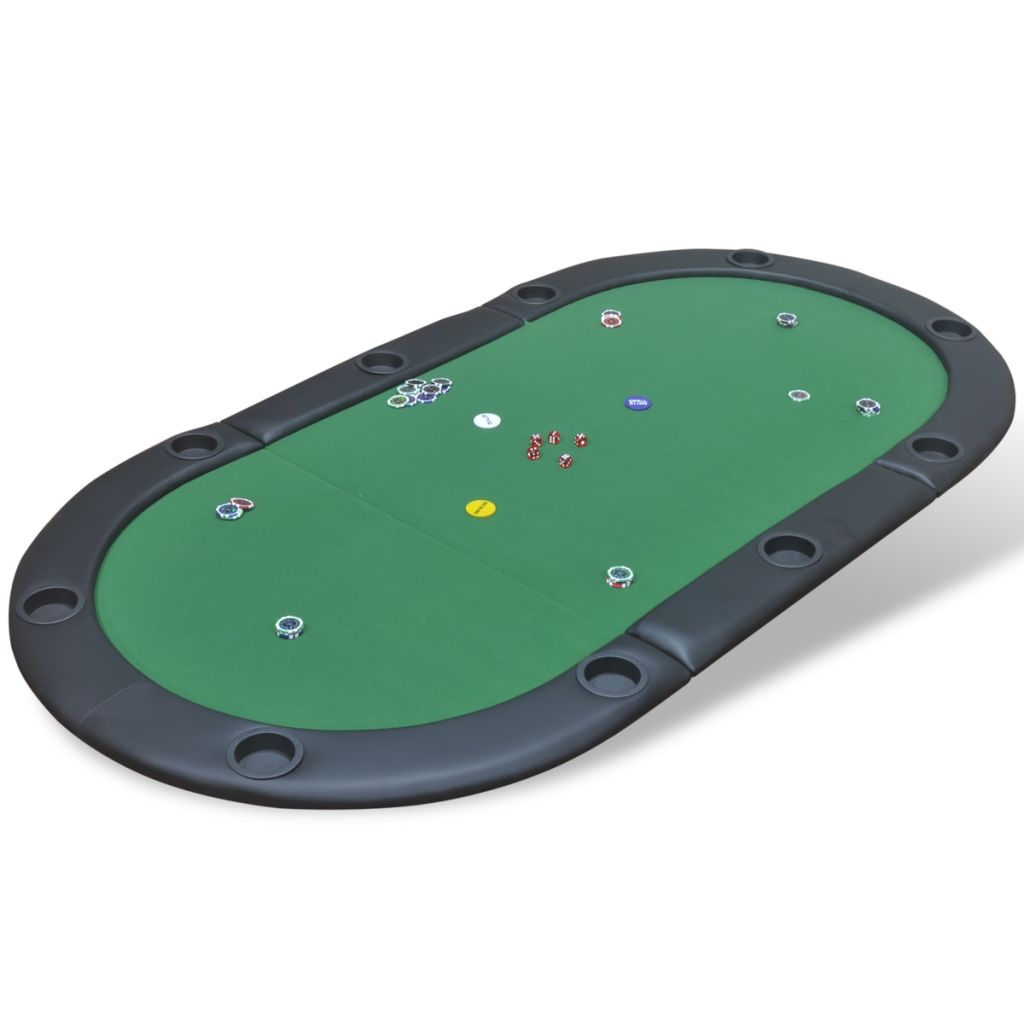 10-Player Foldable Poker Tabletop Green