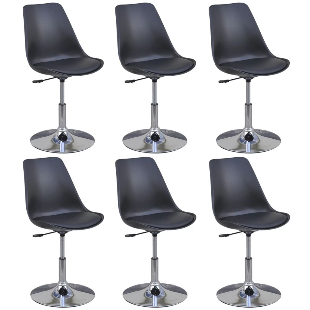 Swivel Dining Chairs 6 pcs Black Faux Leather 2