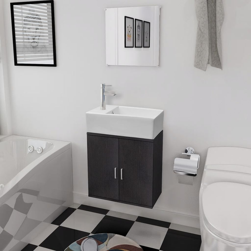Three Piece Bathroom Furniture and Basin Set Black