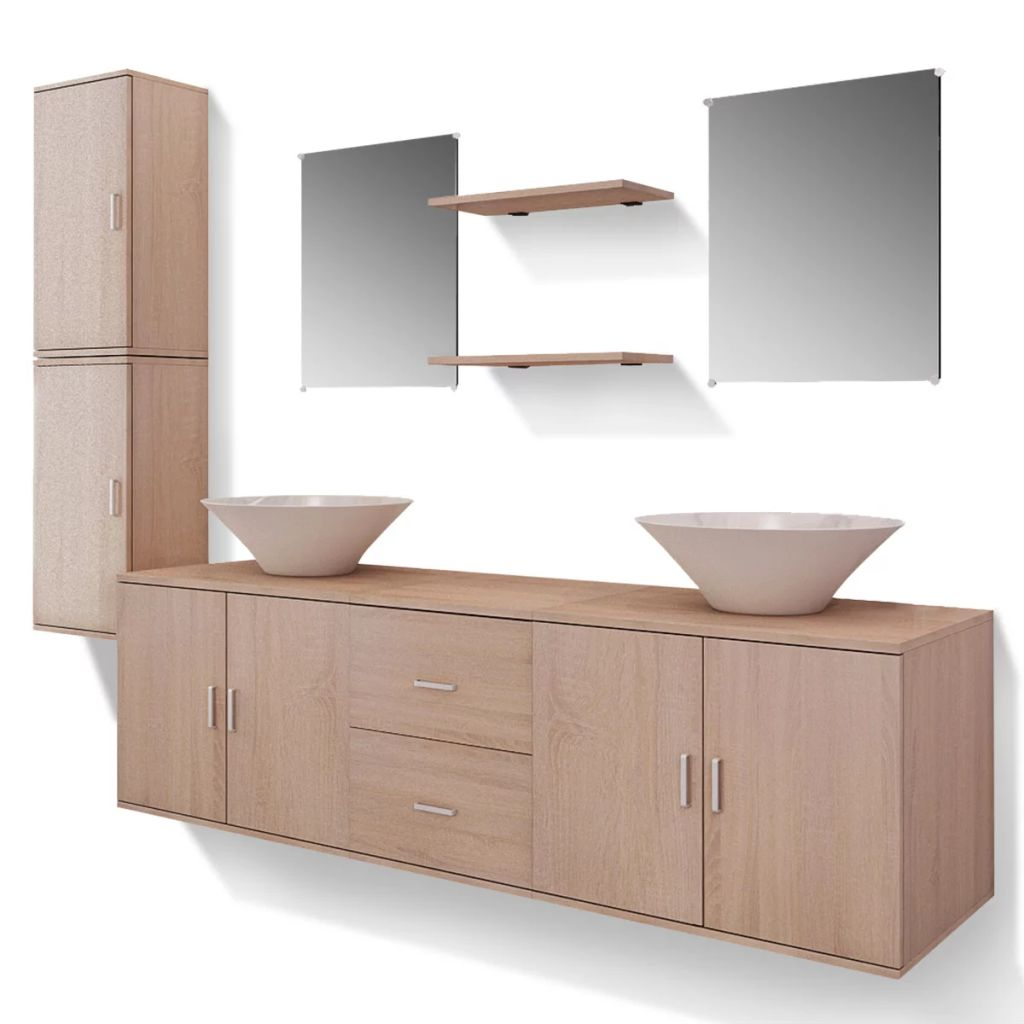 Nine Piece Bathroom Furniture and Basin Set Beige 2