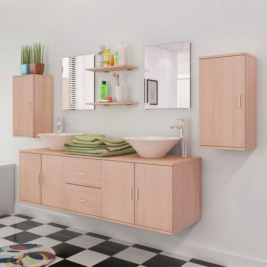 Nine Piece Bathroom Furniture and Basin Set Beige 4
