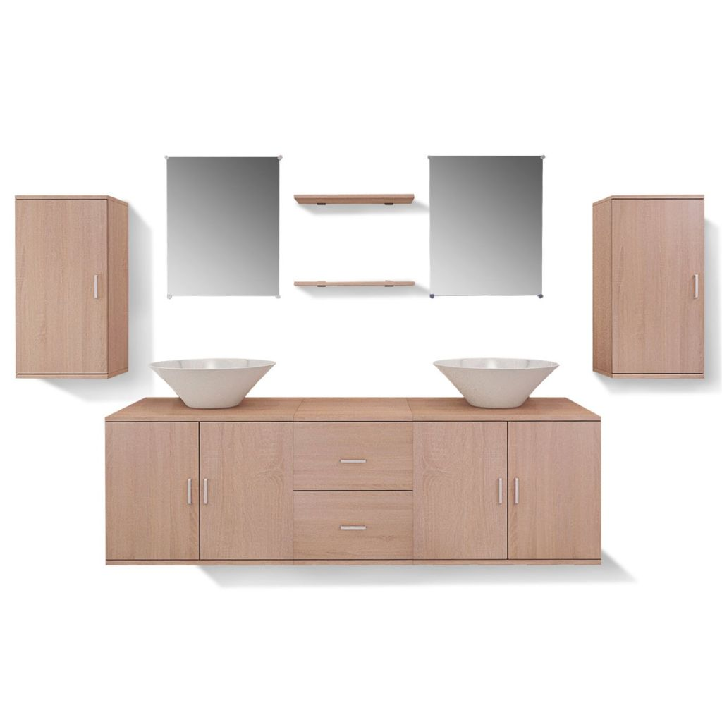 Nine Piece Bathroom Furniture and Basin Set Beige 7