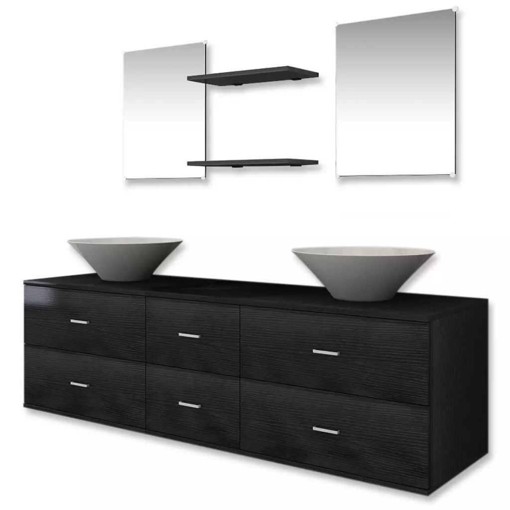 Seven Piece Bathroom Furniture and Basin Set Black 2