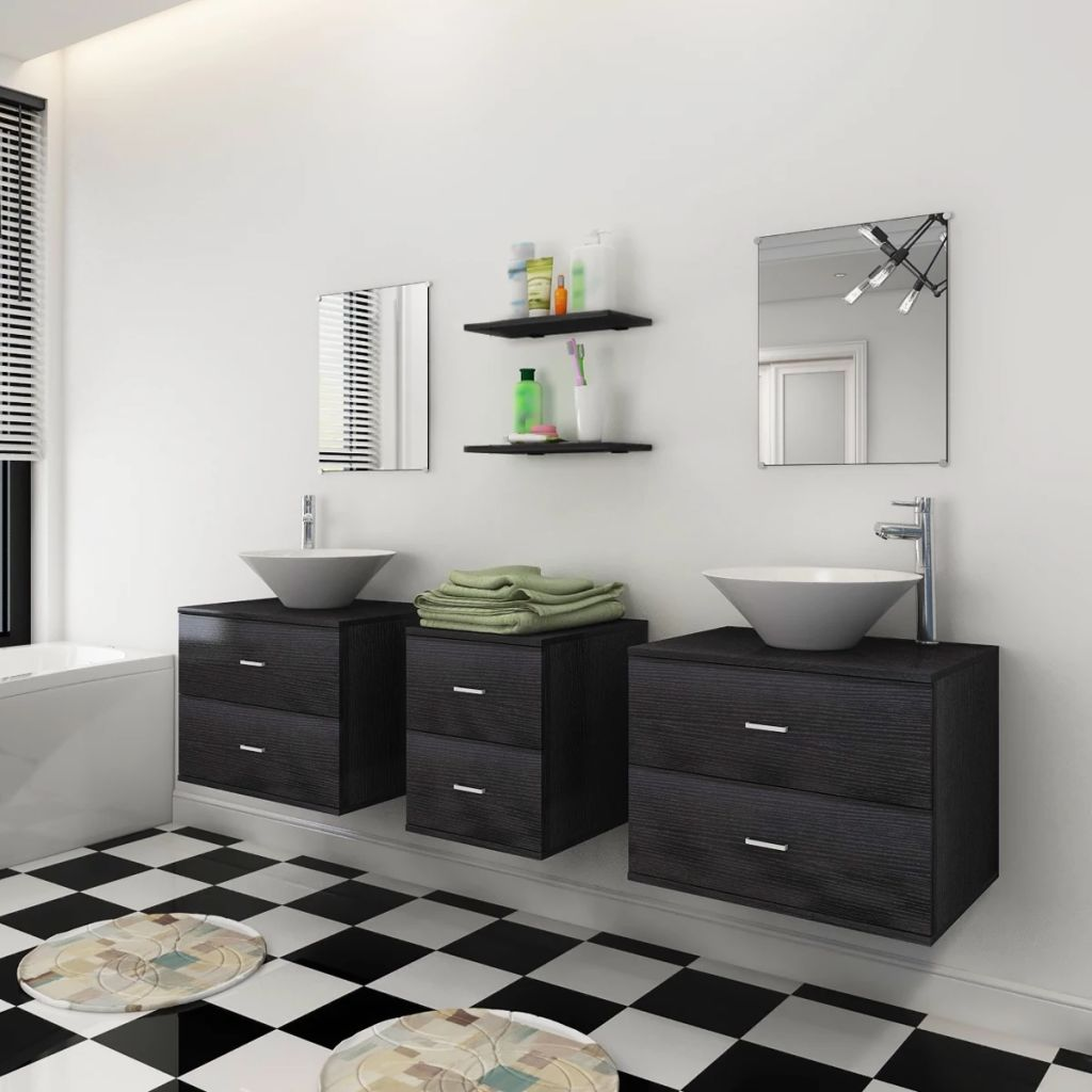 Seven Piece Bathroom Furniture and Basin Set Black 3