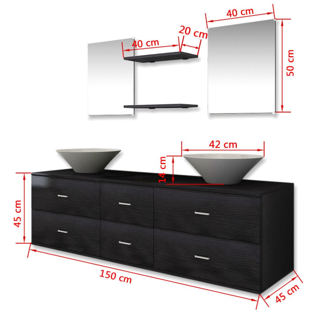 Seven Piece Bathroom Furniture and Basin Set Black 10