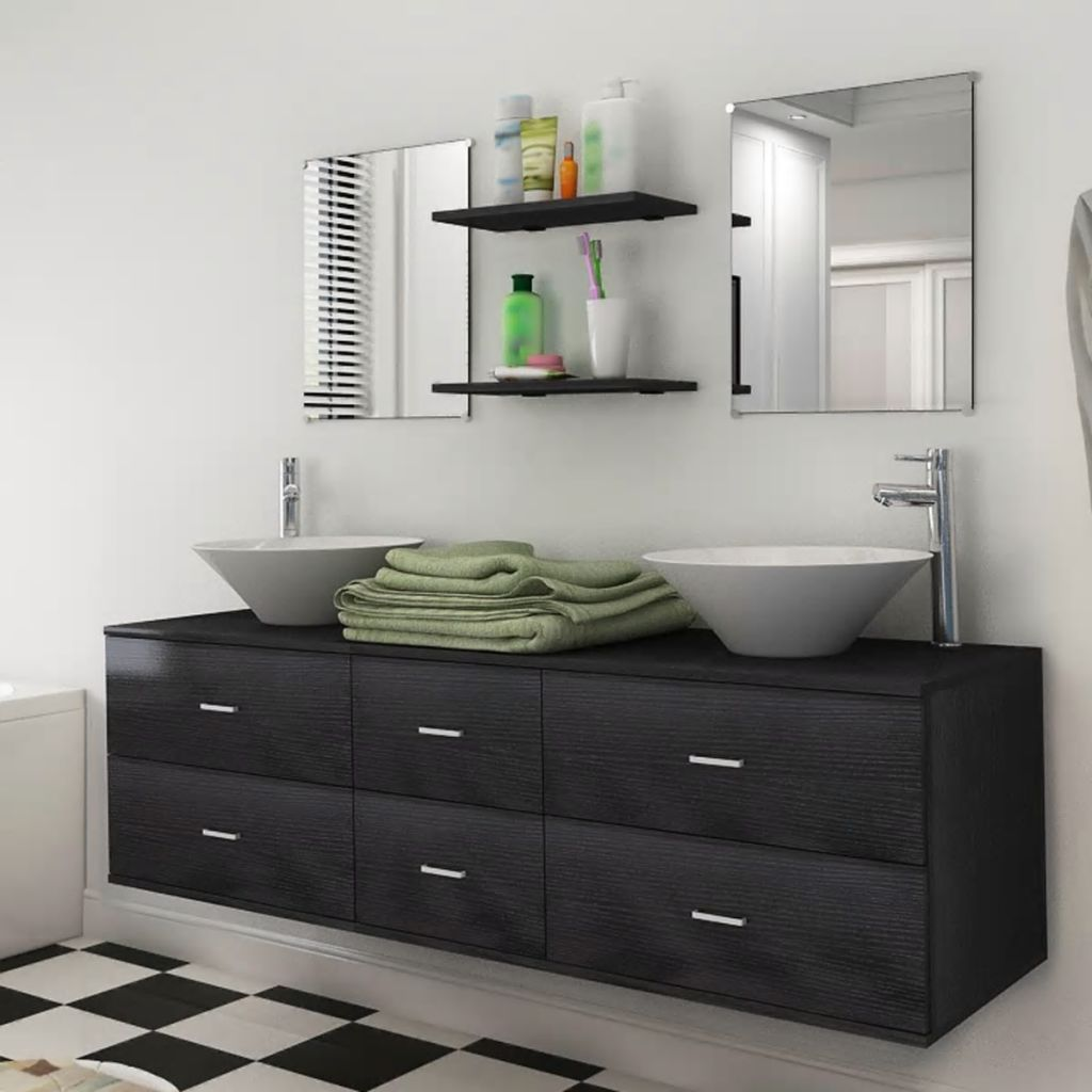 Seven Piece Bathroom Furniture and Basin Set Black 1