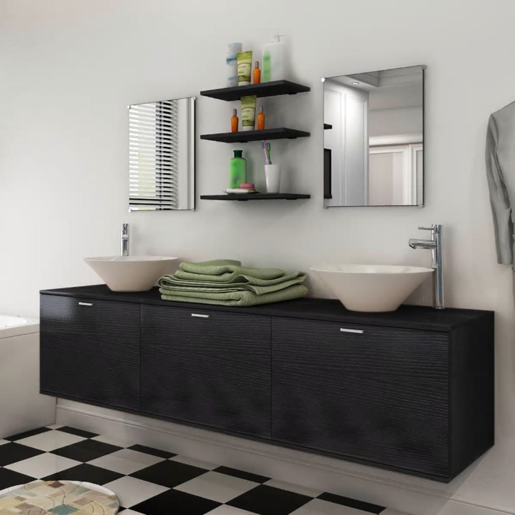 Eight Piece Bathroom Furniture and Basin Set Black