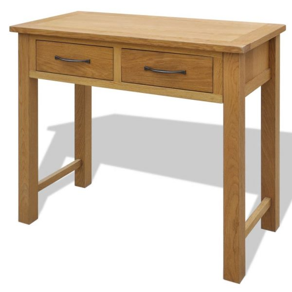 Dressing Table with Stool Solid Oak Wood 2