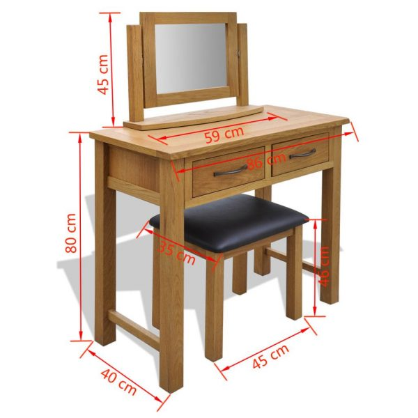 Dressing Table with Stool Solid Oak Wood 6