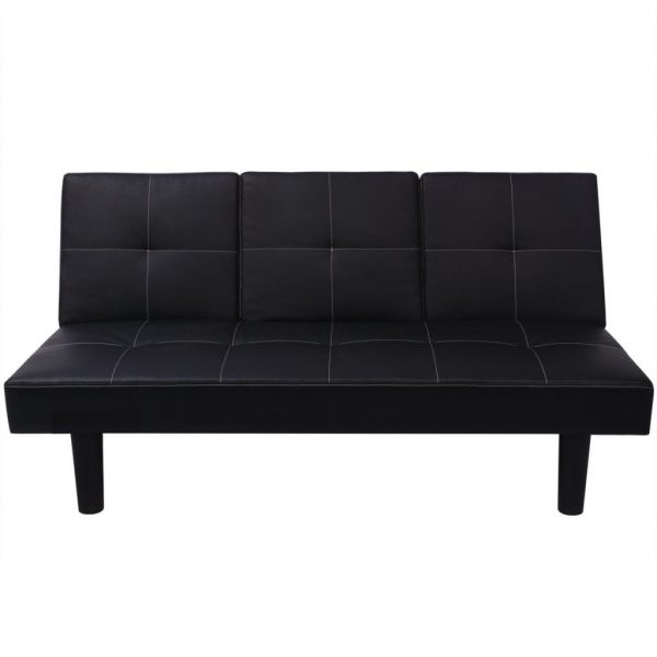 Sofa Bed with Drop-Down Table Artificial Leather Black 3