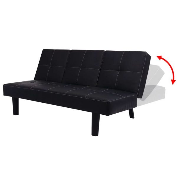 Sofa Bed with Drop-Down Table Artificial Leather Black 4